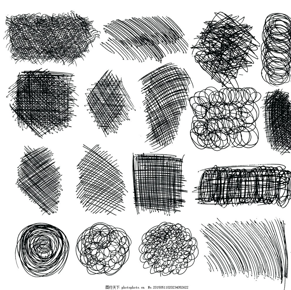 手绘设计元素 杂乱线条 铅笔素描 涂鸦 矢量