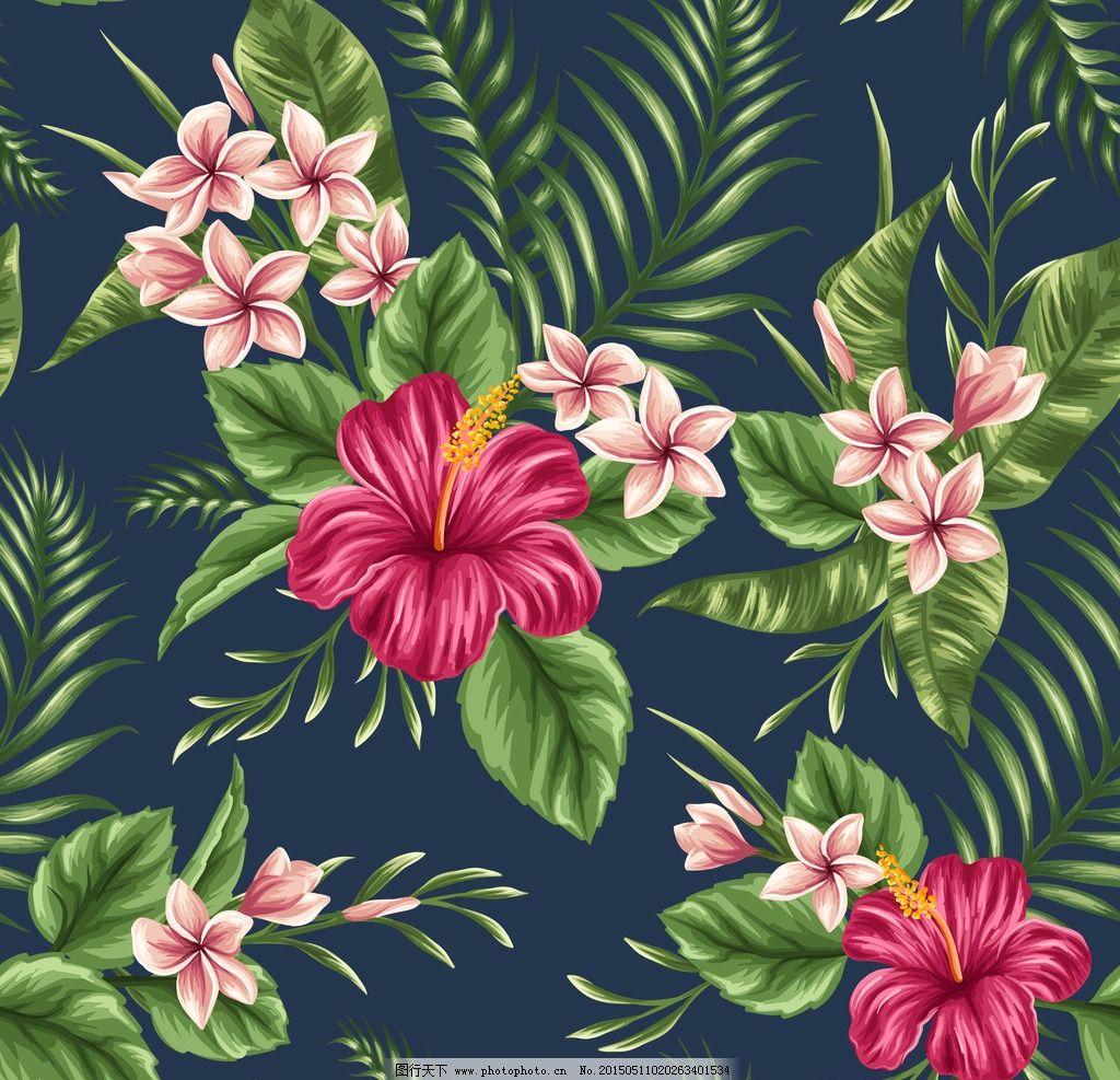 热带花卉背景 绿色植物花卉 热带花 花纹底纹花卉背景 设计 底纹边框