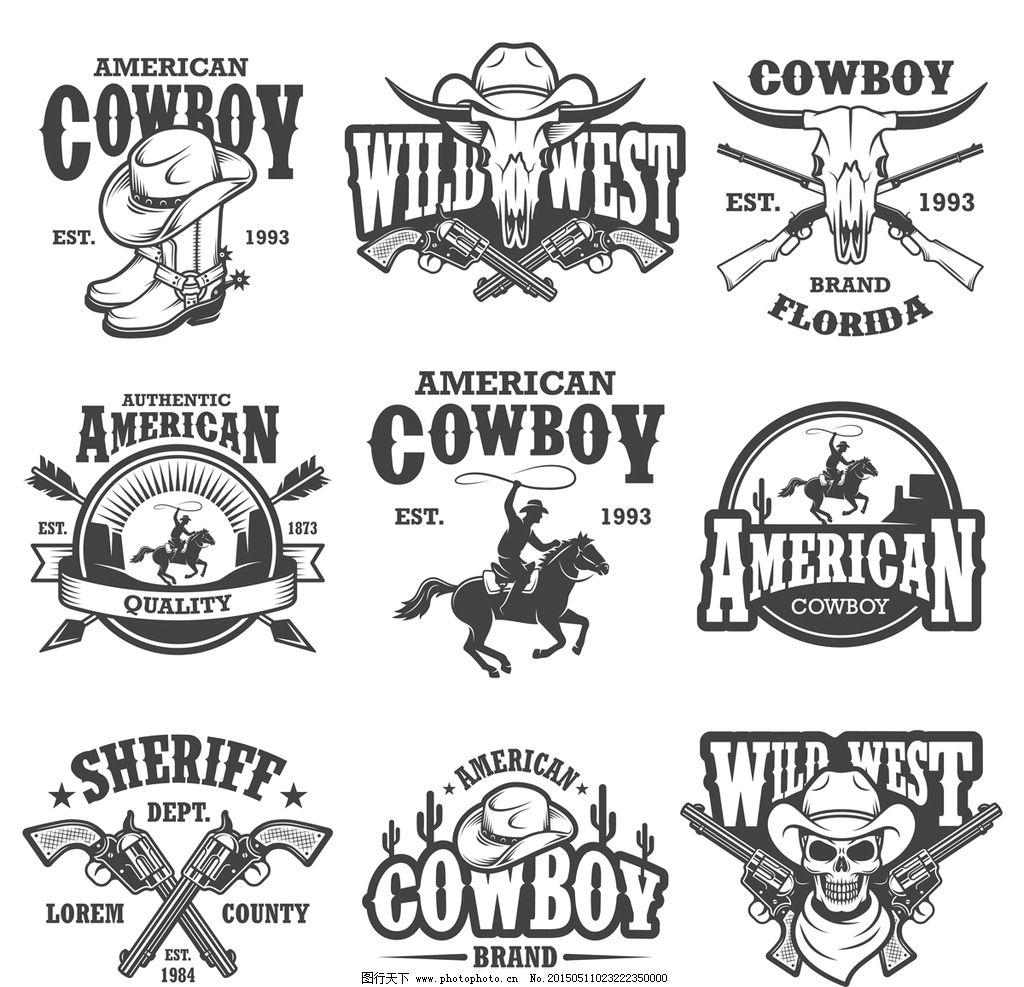 西部牛仔 卡通人物 左轮手枪 骏马 套马索 帽子 牛仔 手绘 设计 矢量