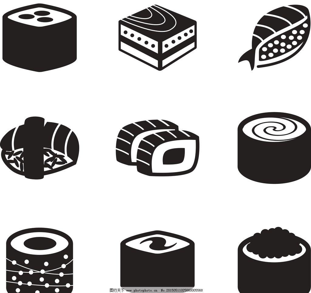 手绘日本寿司矢量素材图片
