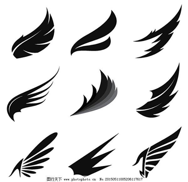 翅膀剪影矢量图_花纹花边