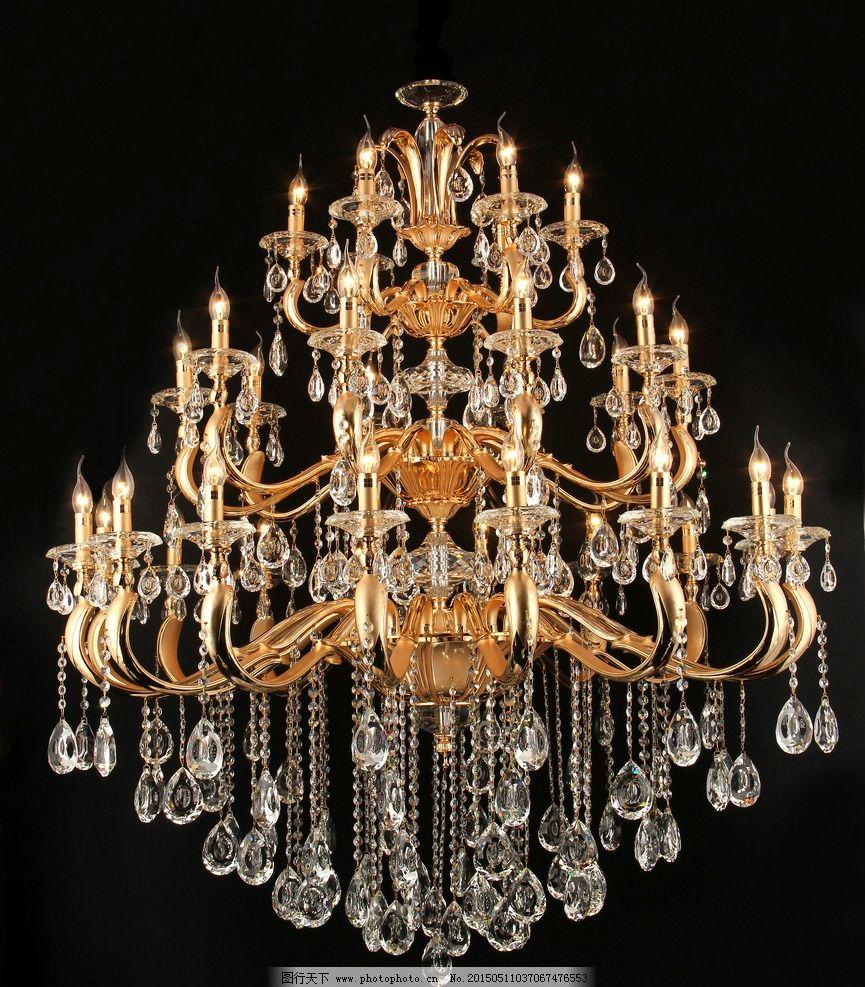 生活百科 生活素材  吊灯 灯饰 金色水晶吊灯 水晶吊灯 欧式吊灯 黑色