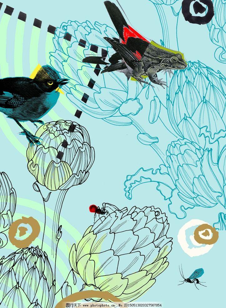 花纹花卉动物图片
