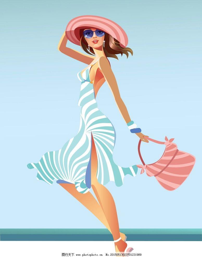 手绘少女 女孩 女人 夏日 裙子 少女 时髦 女性 都市女性 人物插图