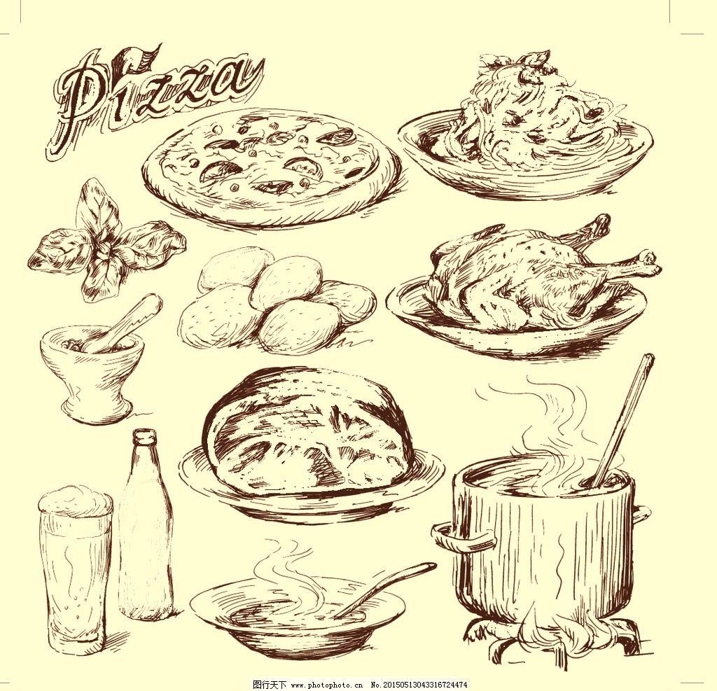 素描 西餐素描 披萨 手绘 底纹边框 背景底纹