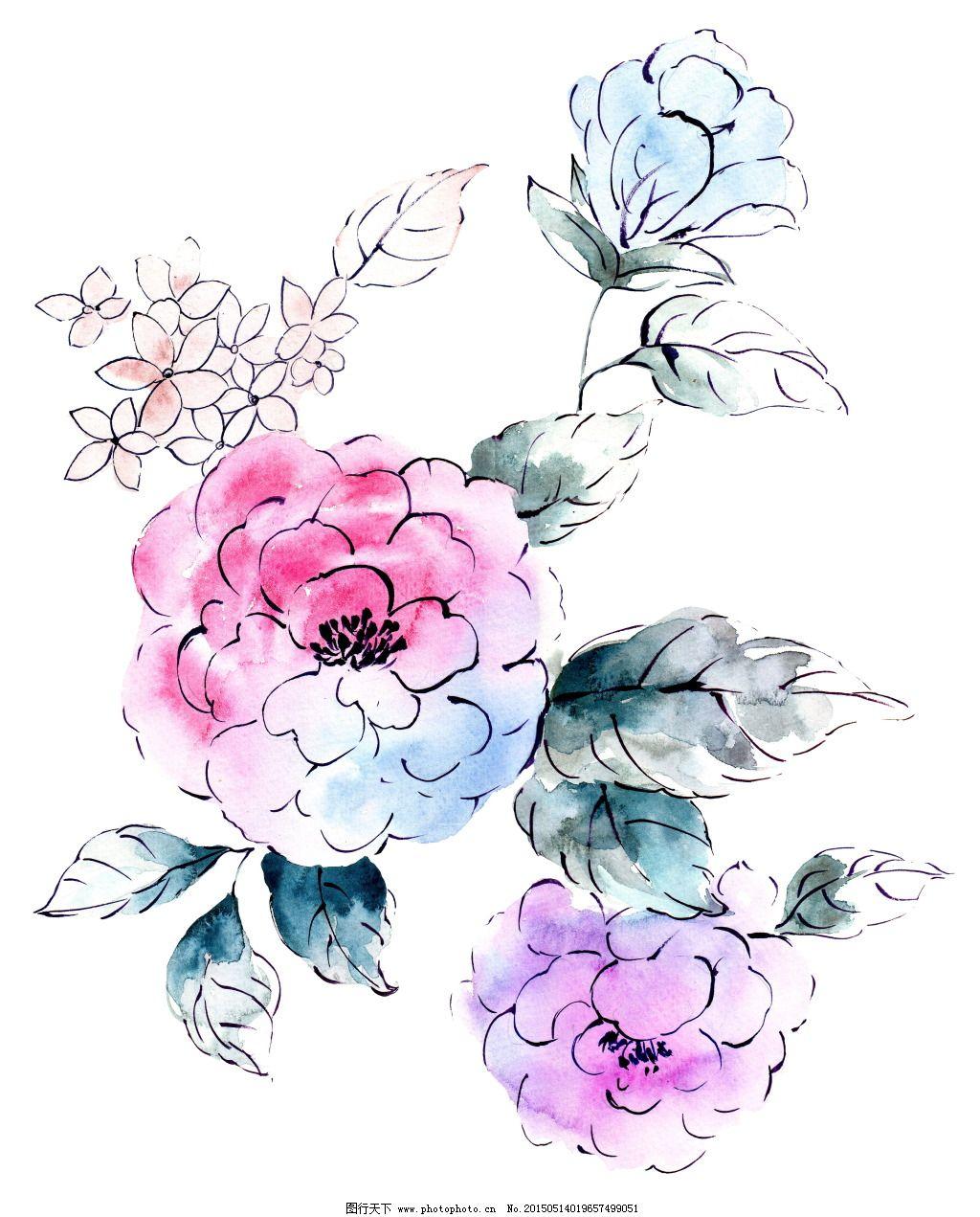 手绘水彩花卉设计免费下载