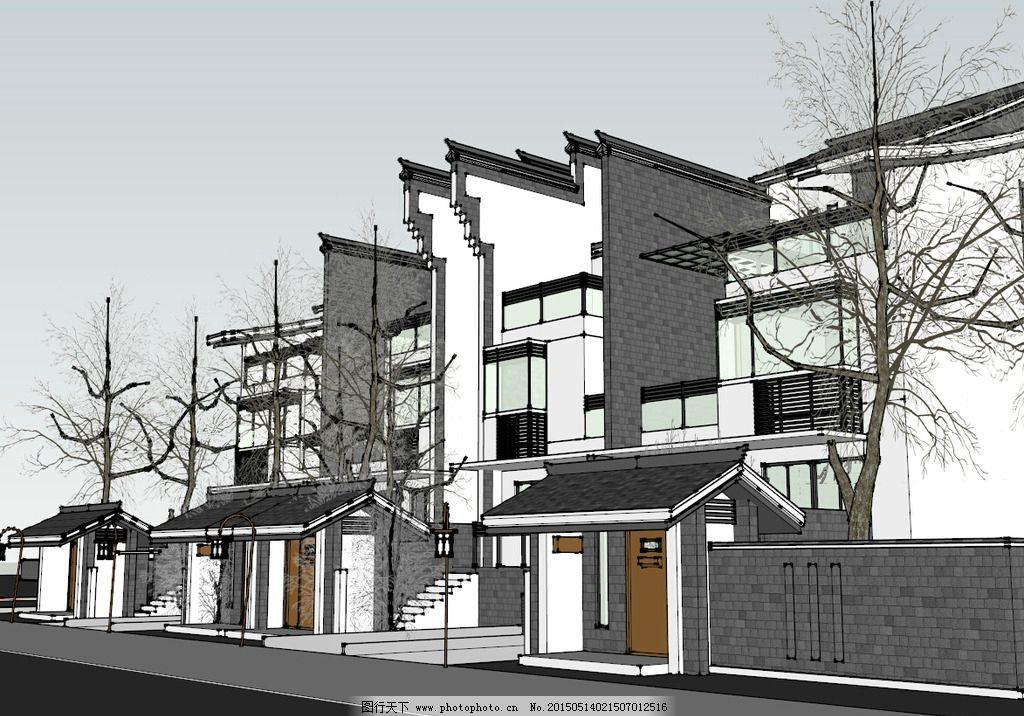 新式徽派建筑别墅模型