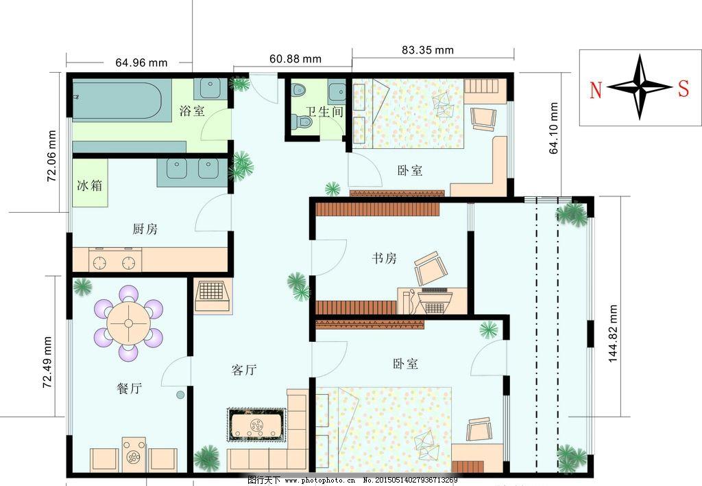门 窗 床 桌椅 瓷砖 沙发 木地板 房子设计 住房设计 花 草 室内平面