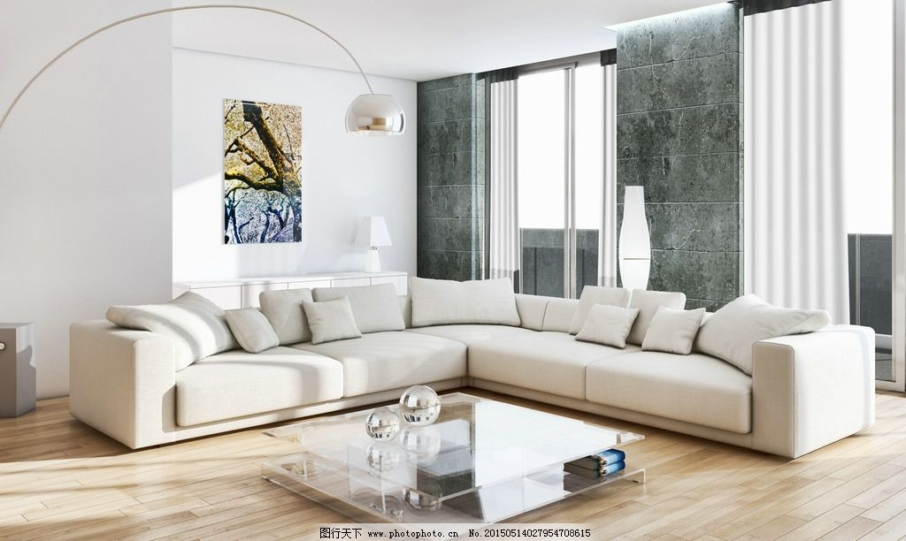 简欧式客厅装修效果图白墙