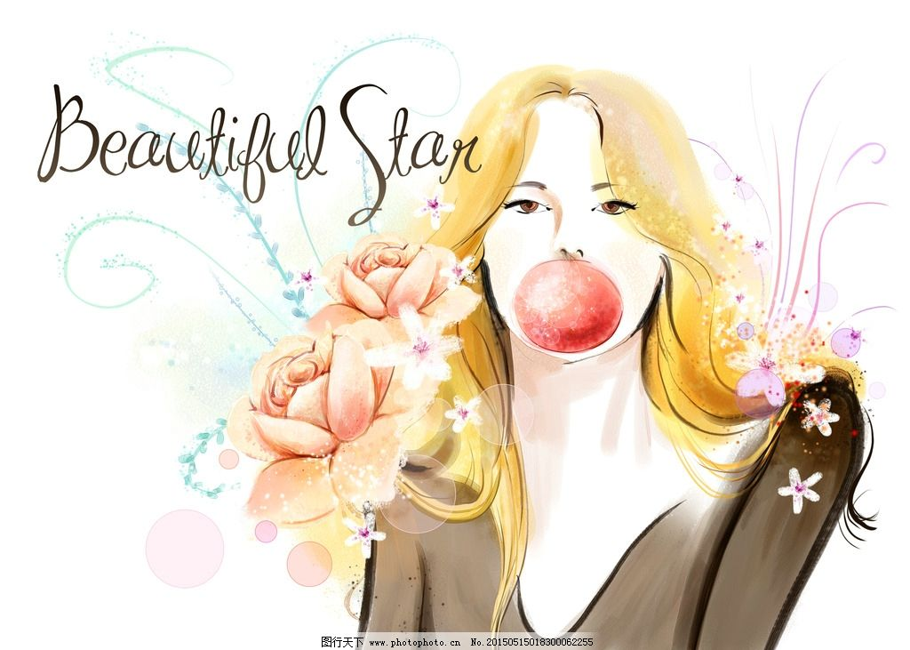 漂亮美女 手绘美女 水彩粉彩卡通插图 设计 动漫动画 动漫人物 300dpi