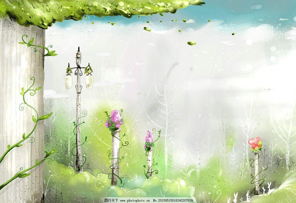 树藤手绘背景图片