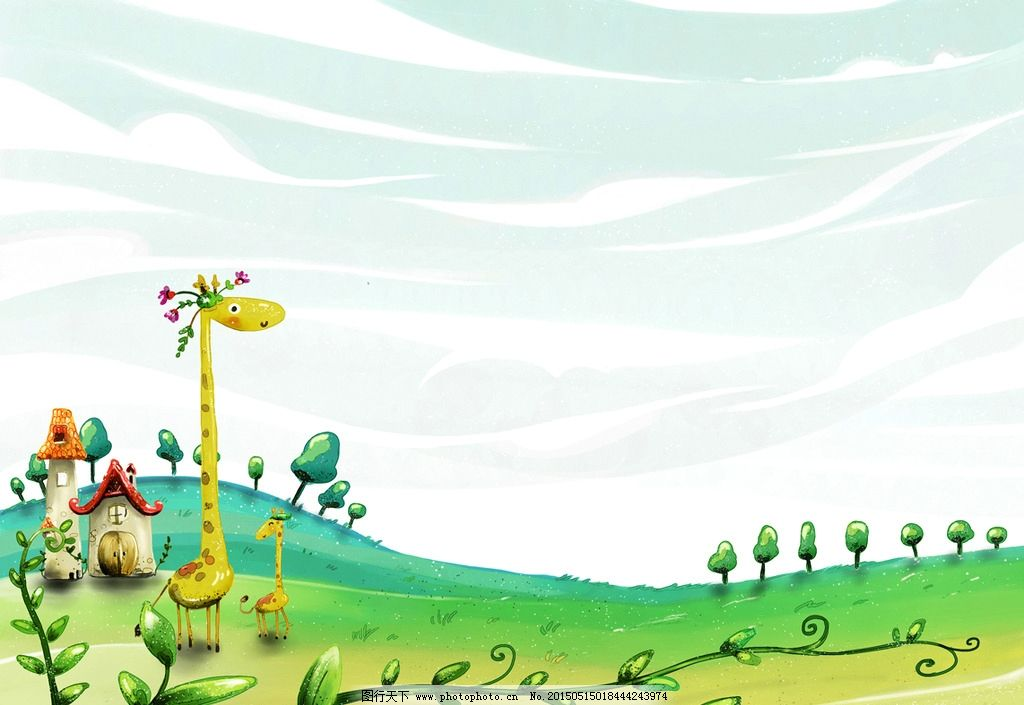 长颈鹿手绘背景