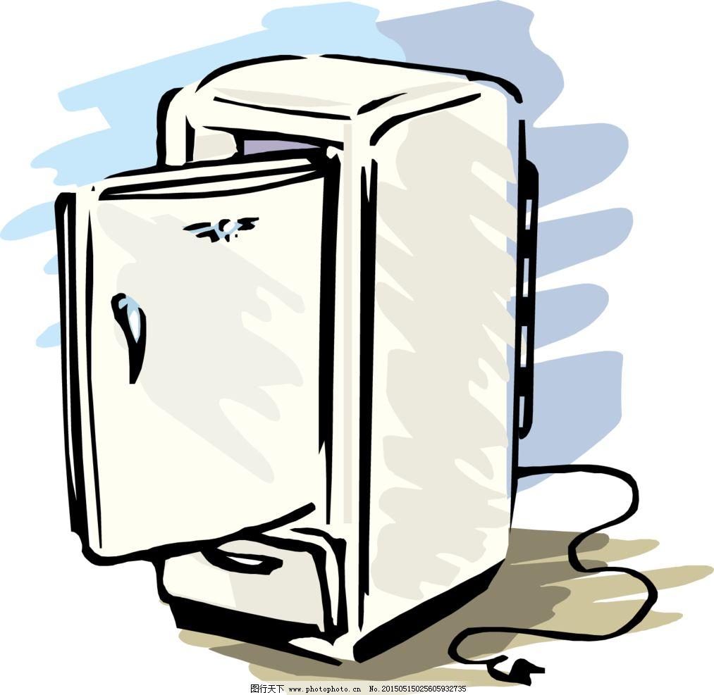 冰箱 手绘 矢量 插图 插画 设计 生活百科 餐饮美食 eps