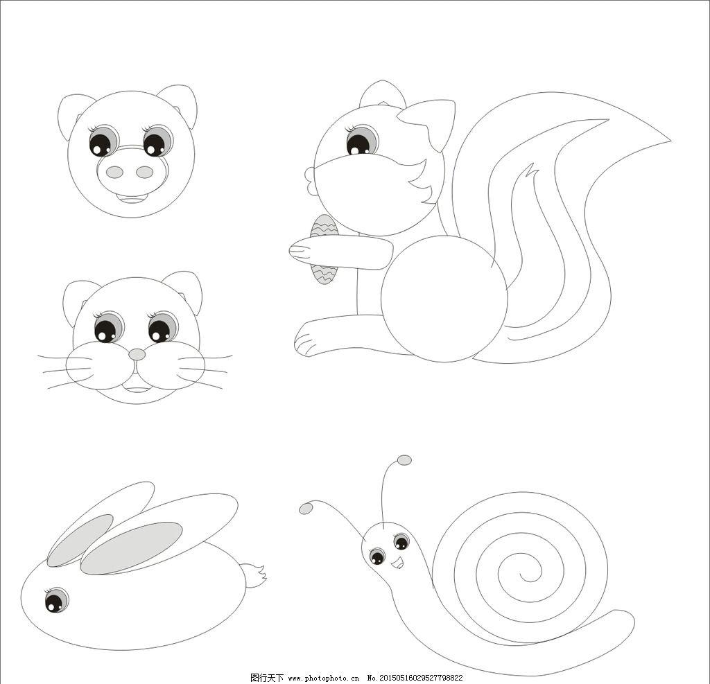卡通 手绘 动物 头像 可爱图