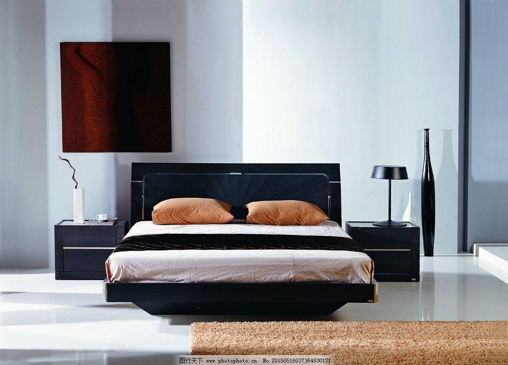 床 床头柜 大床 黑色家具 卧房家具 檀木家具 时尚家具 时尚家居 现代