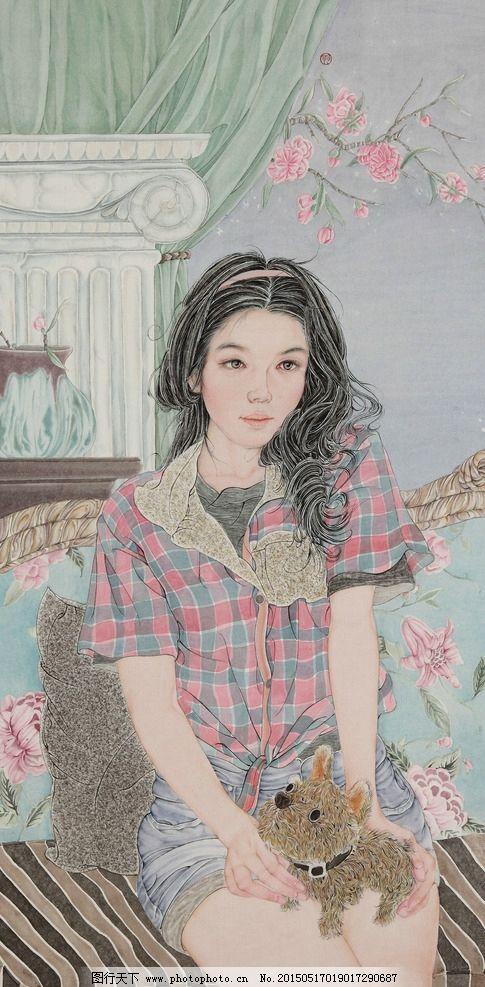 美术 中国画 工笔画 女人 女子 姑娘 女青年 桃花 床榻 李翔峰国画 国