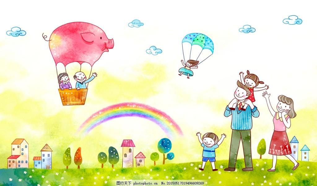 儿童女生画画的白云