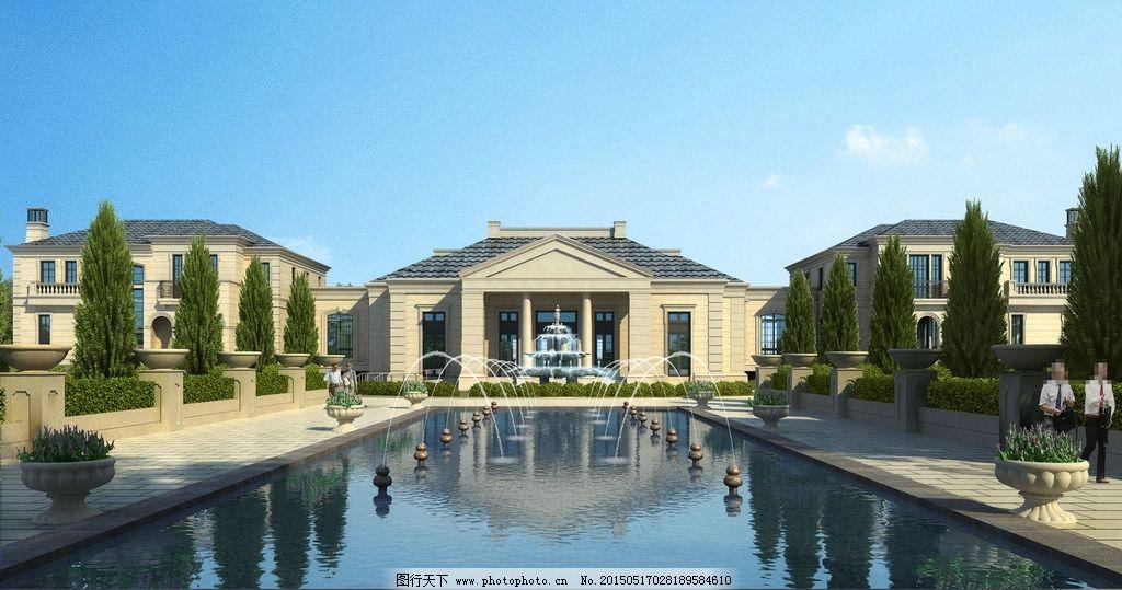别墅喷泉景观设计图片