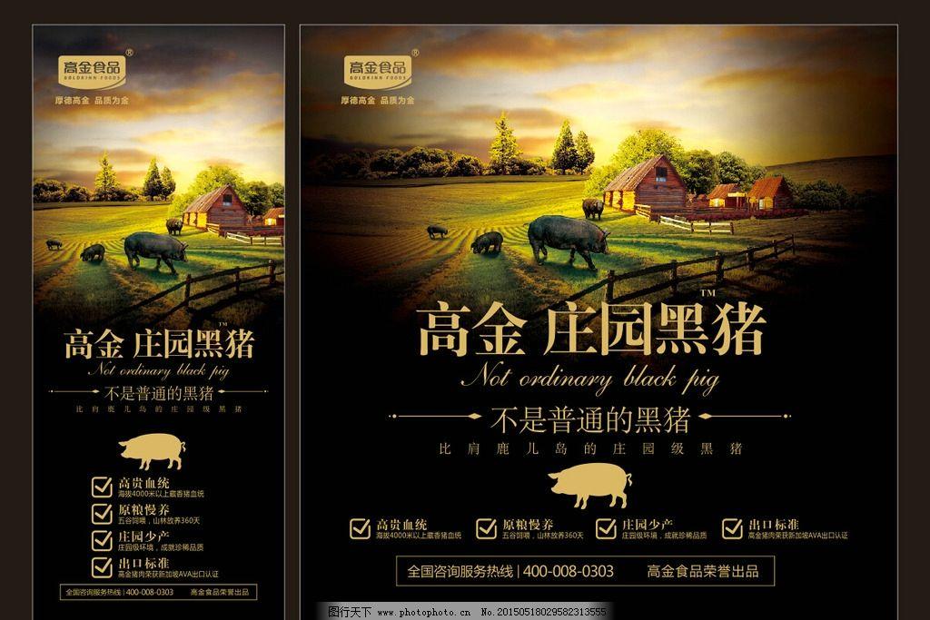 庄园 黑猪 高档 大气 高金 高清 猪肉  设计 广告设计 广告设计  cdr