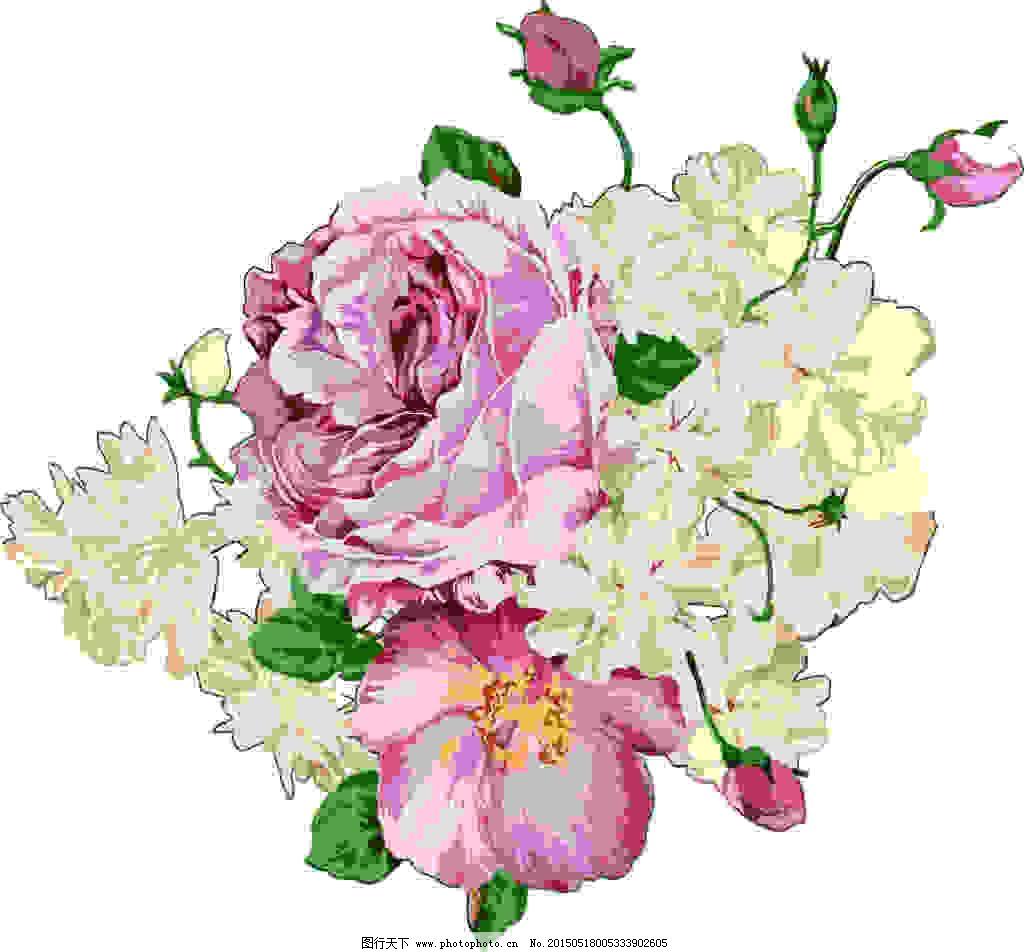 复古手绘花卉 矢量图