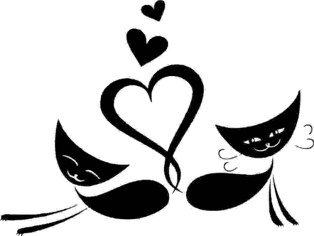 黑色猫咪爱心 矢量图
