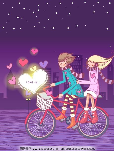 单车情侣漫画图片