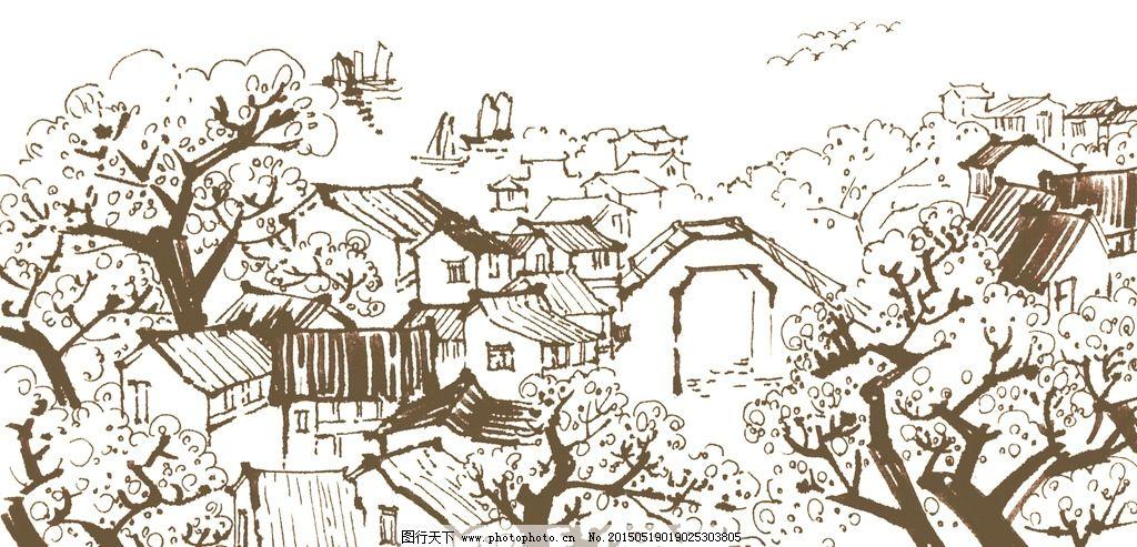 古建筑 南方建筑 树 房子 手绘 速写 设计 文化艺术 绘画书法 300dpi