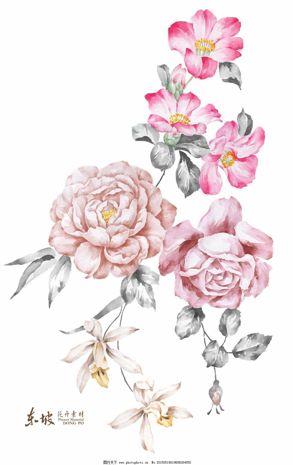 复古手绘花卉