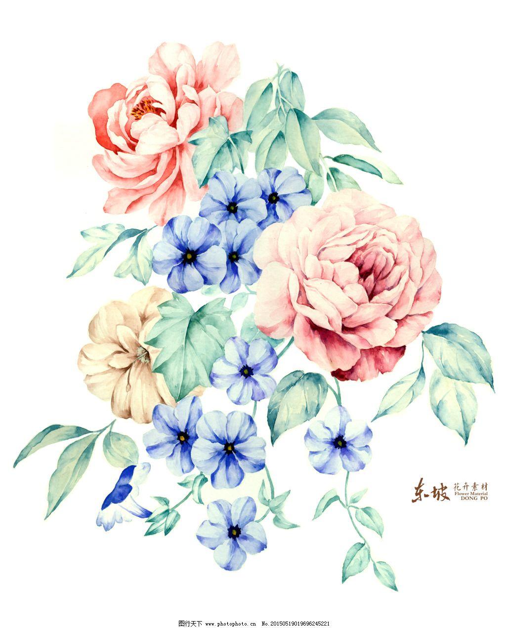 优雅手绘花卉免费下载 红蓝 手绘画 叶子 装饰花 手绘画 红蓝 创意