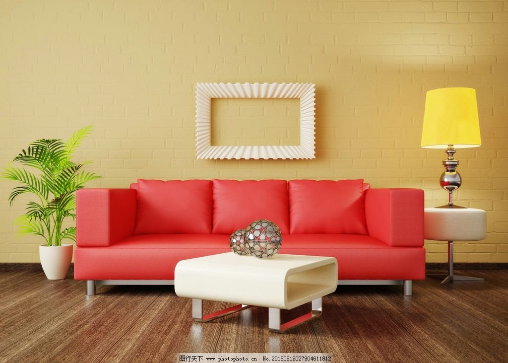 欧式红色沙发客厅