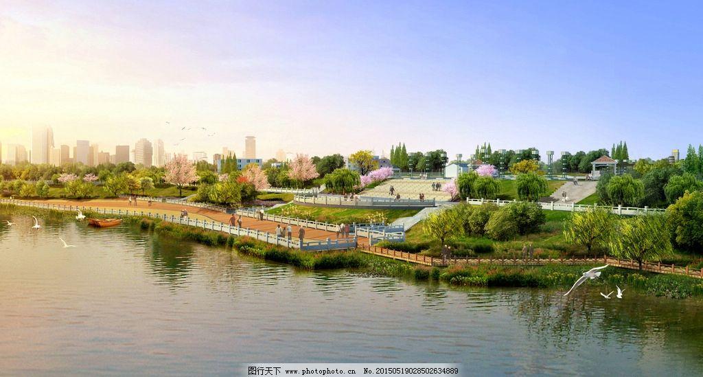 亲水平台 人工湖 景观设计 湖 游憩空间 公园 设计 环境设计