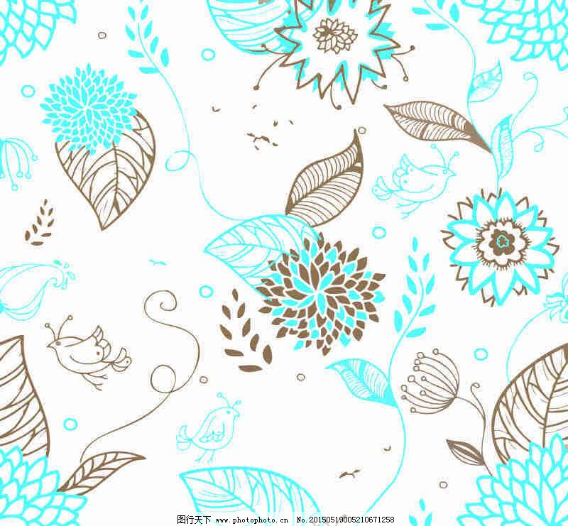 广告设计 海报设计 褐色 红花绿叶 画册设计 蓝色 手绘 手绘 线条画