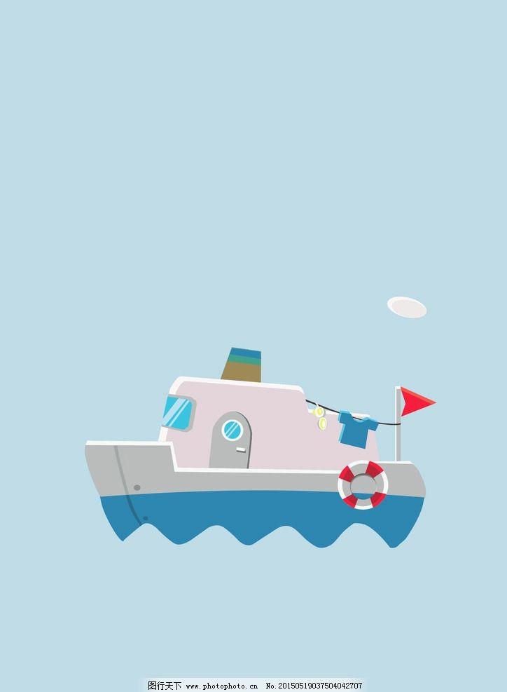 卡通版 航海船 游泳圈 蓝色 背景图 设计 动漫动画 其他 300dpi jpg