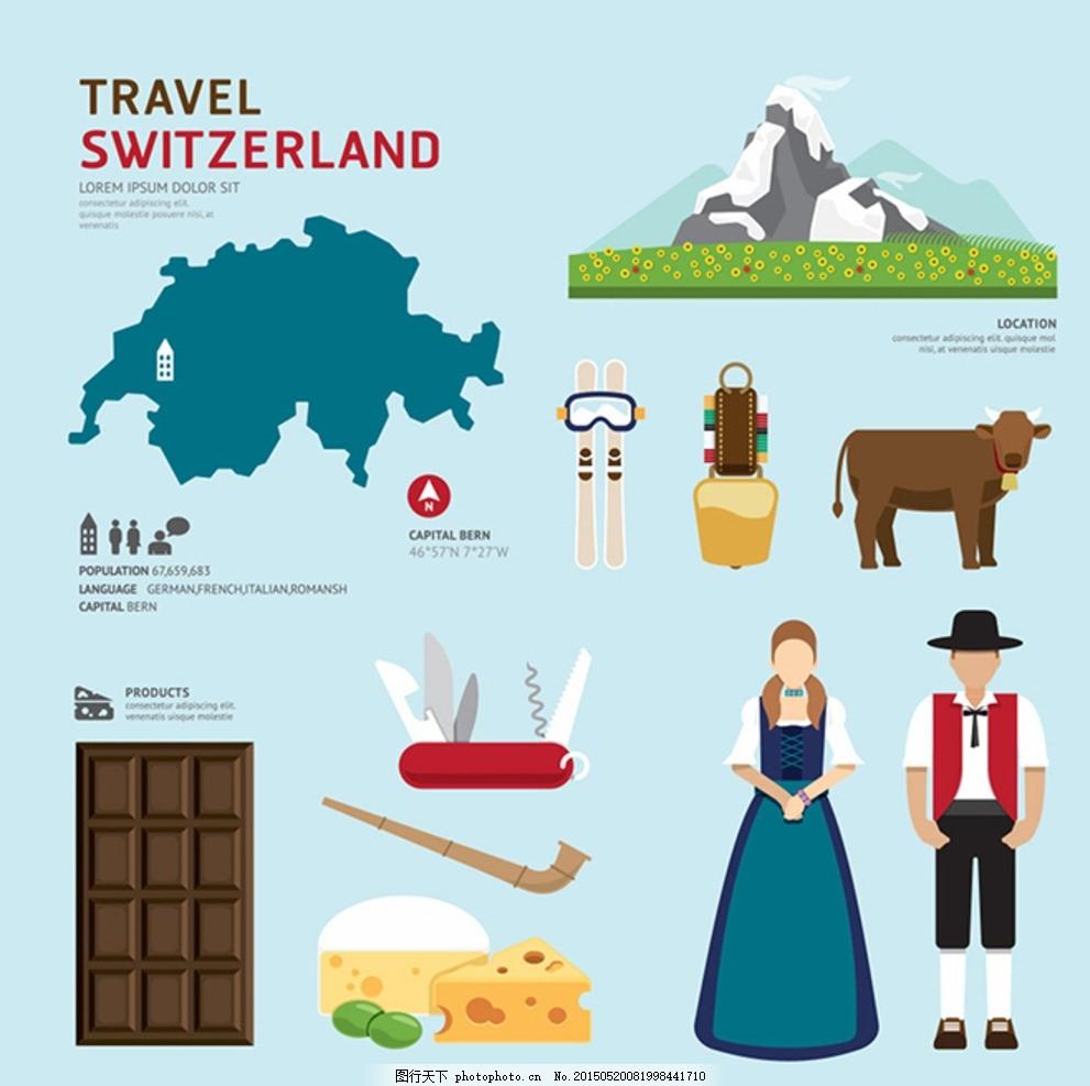瑞士旅游元素 旅行 旅游景点 著名景点 瑞士地形图 卡通雪山 卡通牛图片