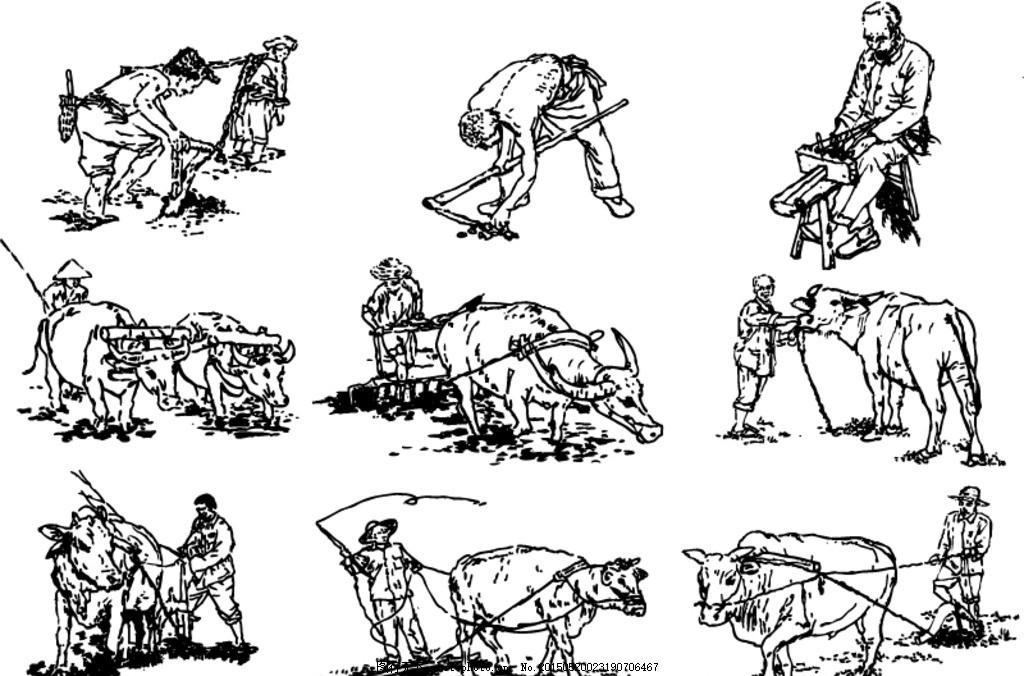 手绘农耕者设计矢量素材 农民 职业 农作 劳动 木工 犁田 除草