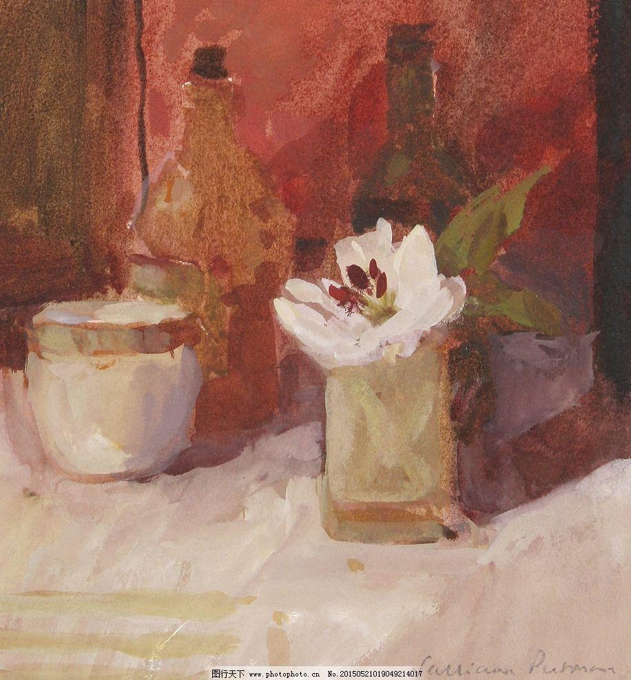 静物花卉 白色玉兰花 罐子 玻璃酒瓶 白色桌子 印象画派 油画
