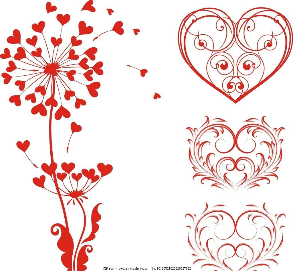 精美花纹 时尚 潮流 精美 线条 花边 心形边框 心形花边 边框 蒲公英