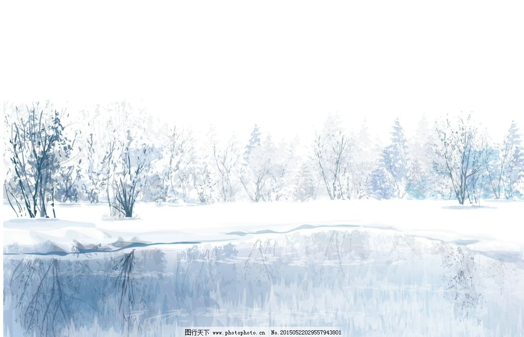 动漫手绘 冬季美 景矢量素材 自然美景 树林 冰面 倒影 结冰 下雪