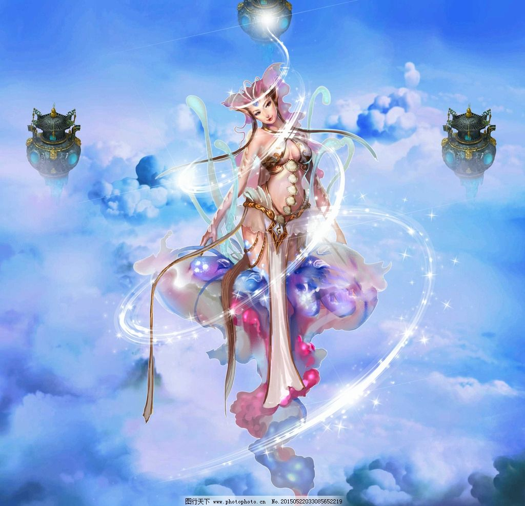 游戏人物 游戏美女 古典美女 古装美女 梦幻背景 设计 psd分层素材