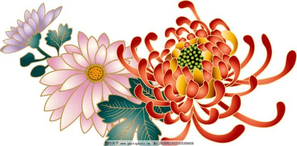 花 花卉 菊花 梅兰竹菊 手绘 设计 底纹边框 花边花纹 ai
