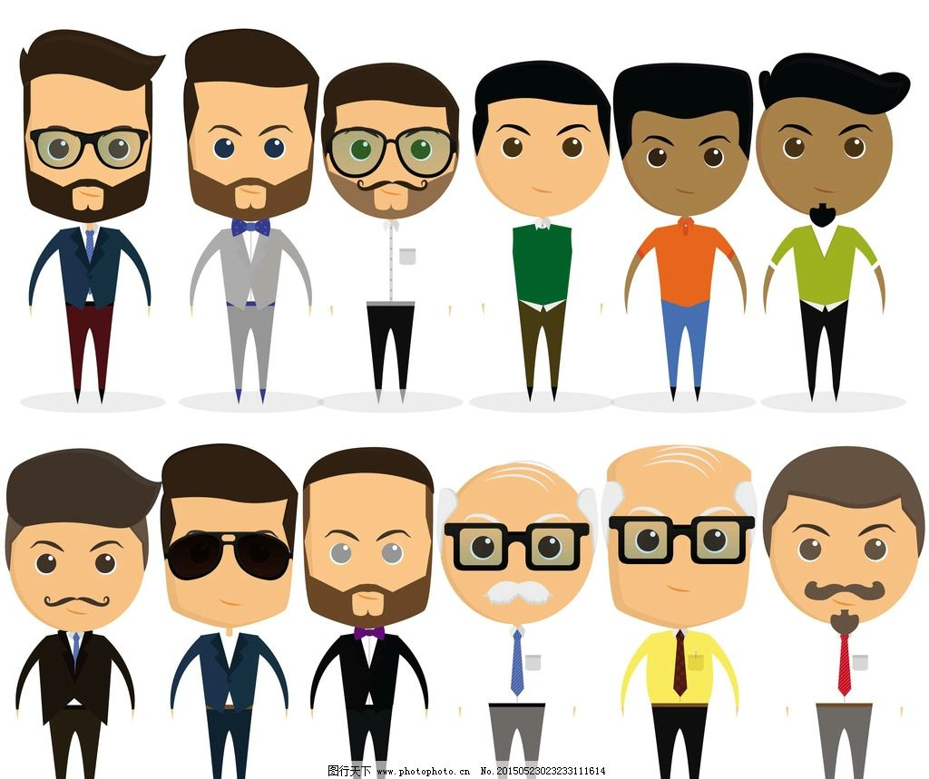 商务人物 白领 手绘人物 简笔画 老板 人士 卡通人物 商业插图 职业