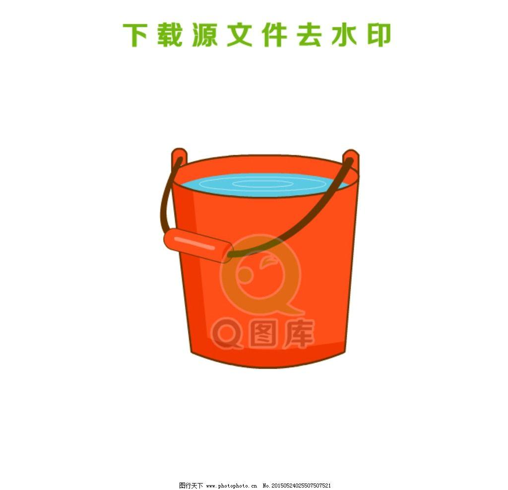 手绘水桶矢量造型图图片