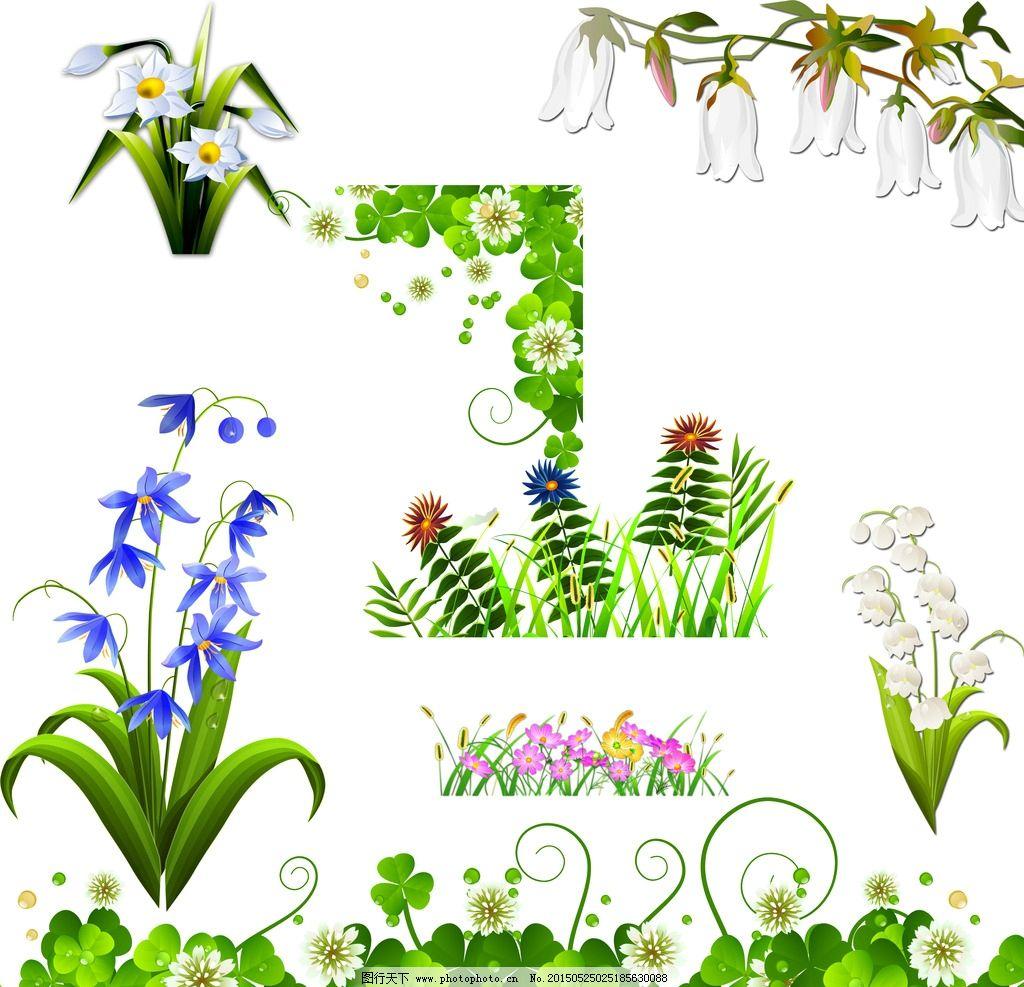 花卉植物 花草 手绘 时尚 春天素材 春季素材 绿色植物 绿色装饰素材