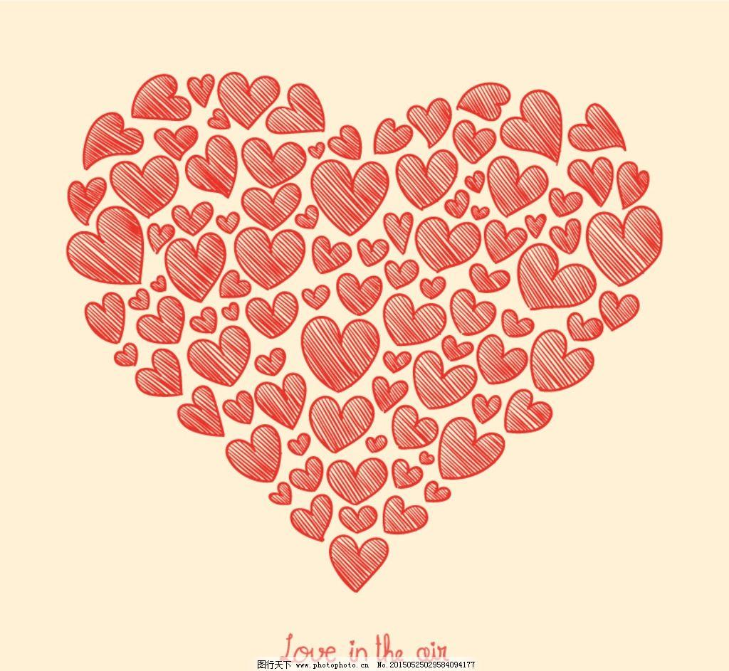 红色爱心涂鸦 彩绘 手绘 爱心 节日 红色 情人节 设计 广告设计 广告