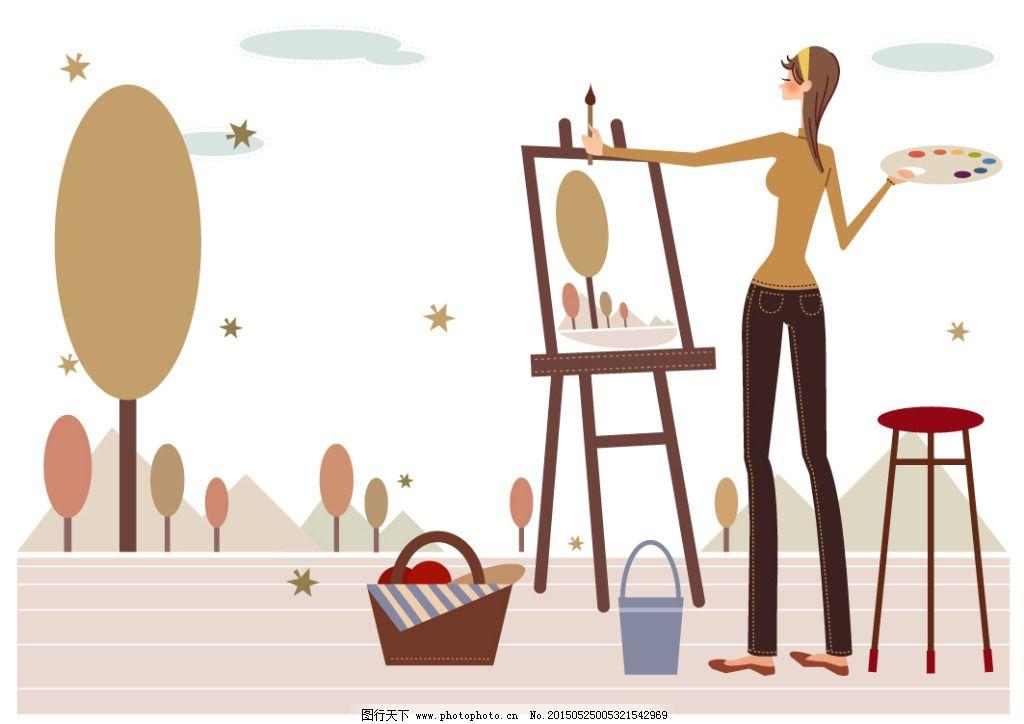 绘画 卡通 卡通美女 美女 美女矢量图 卡通 美女矢量图 美女 绘画