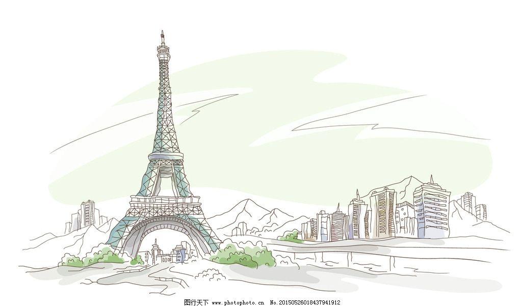 巴黎铁塔手绘素描图图片