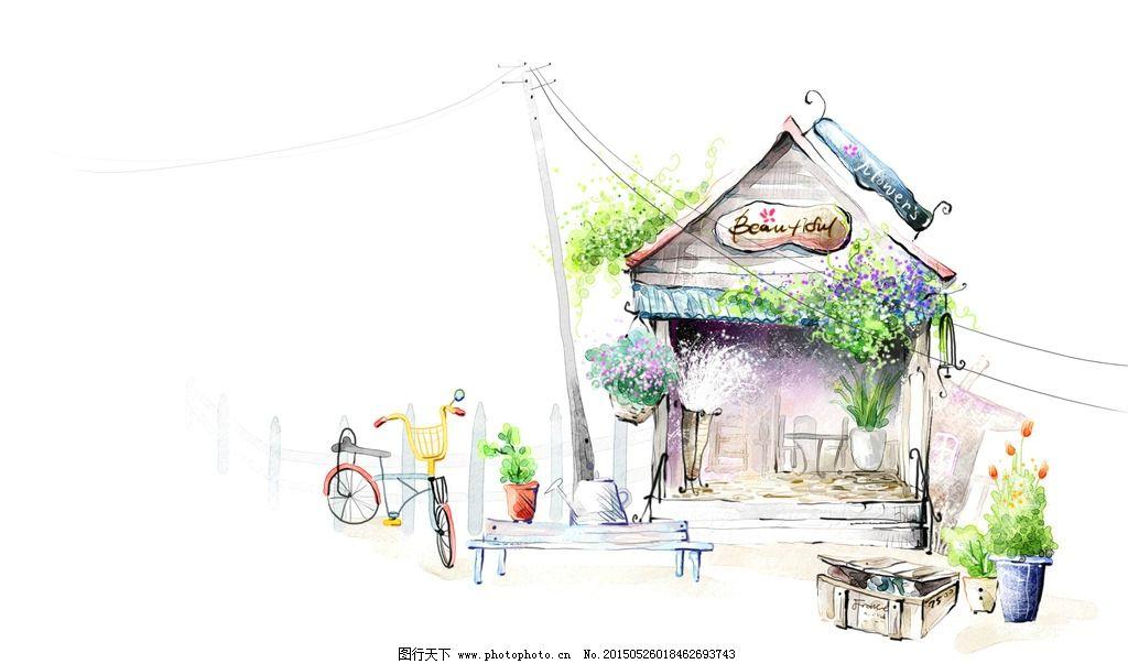 园林小店手绘素描图图片
