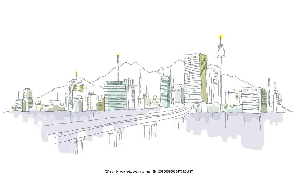 手绘素描城市风景图图片
