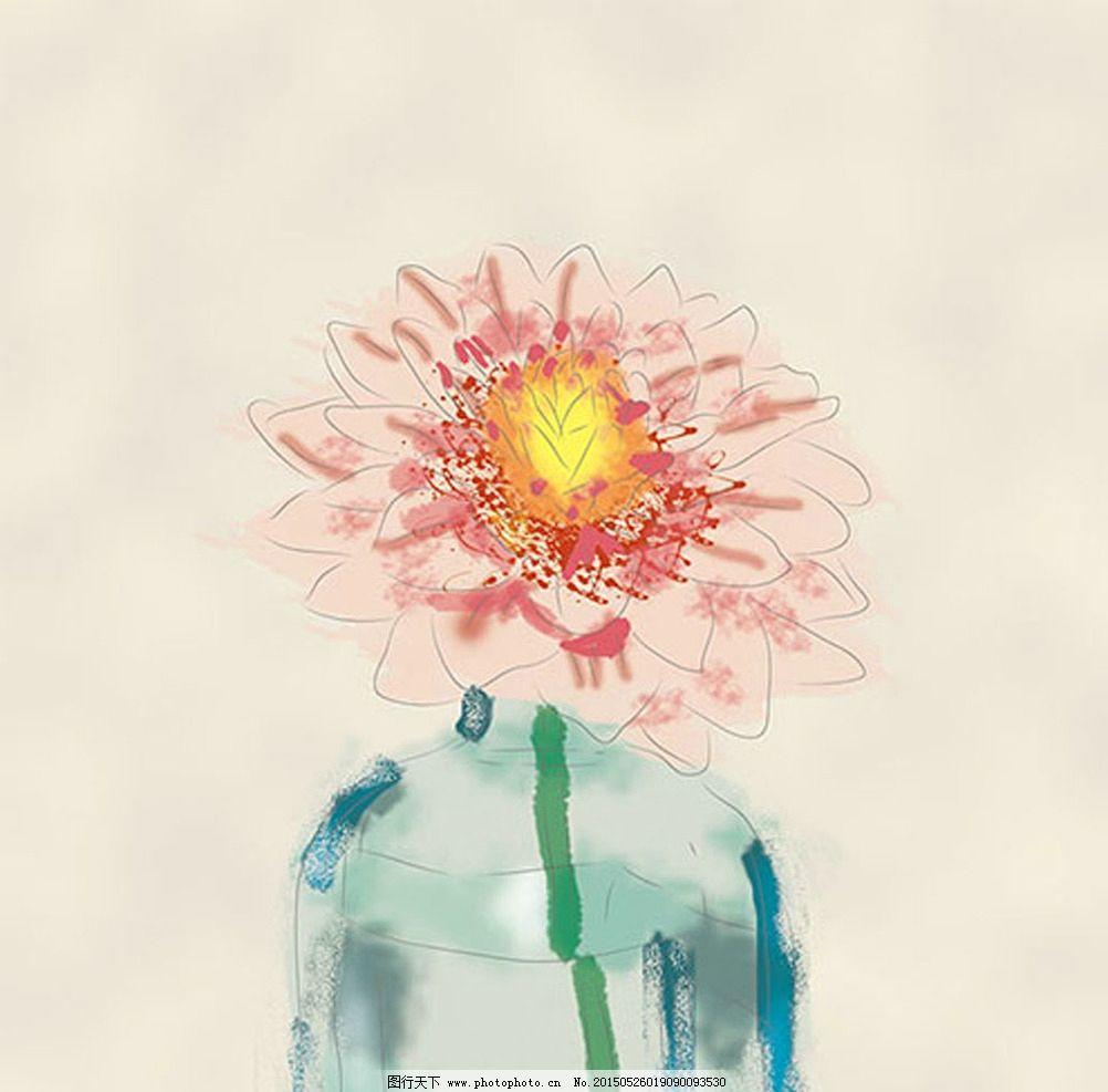 欧美手绘花瓶无框画_设计分享
