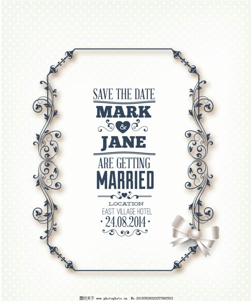婚礼背景 婚礼 婚庆 结婚 请柬 邀请 丝带 欧式花纹 贺卡 卡片 花纹
